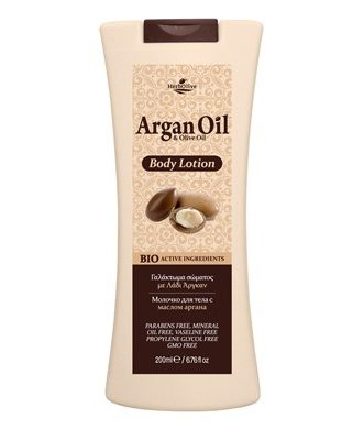 Body lotion. Contains Argan oil, organic olive oil, glycerine, allantoin, panthenol, ingredients rich in vitamins, known for hydrating, antiaging, soothing properties.