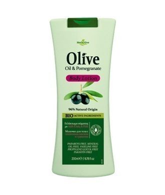 Body lotion with pomegranate, enriched with organically cultivated olive oil, vitamin E, panthenol and aloe vera.
