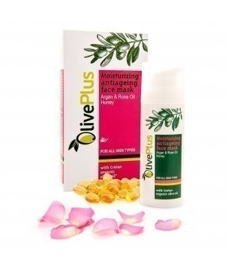 Moisturizing-Antiageing face mask with organic olive oil, avocado, jojoba, lemon, rose and argan oil that hydrate the skin.