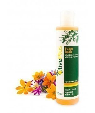 Foam bath with Cretan organic olive oil, vitamin E, panthenol and olive leaves extract that hydrate and care skin.