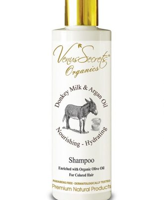 Shampoo with argan oil and donkey milk, natural wheat protein and honey moisturize the scalp while nourishes and thoroughly restructure the hair.