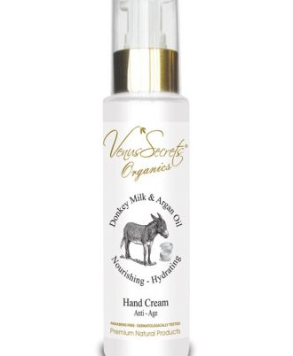 Anti-Age hand cream with organic olive oil, donkey milk, argan oil, aloe vera and vitamins for hydration, smoothness and freshness.