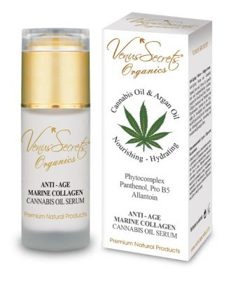Anti-Age cannabis oil, argan oil, aloe and olive serum for youthful glowing skin, suitable for face and neck.