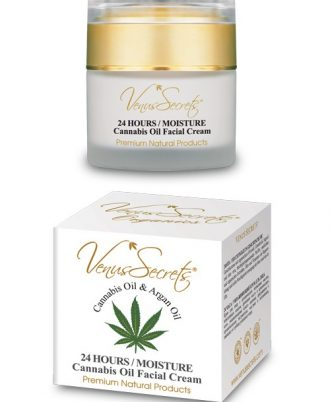 Facial cream with organic olive oil, cannabis oil, argan oil, aloe vera, moisturizing elements, vegetable and organic extracts, oils and vitamins for re-generation and deep moisturizing of the skin.
