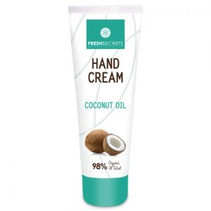 Hand cream with nourishing coconut oil and moisturizing ingredients.