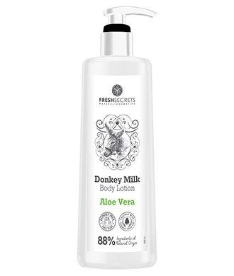 Body lotion with donkey milk, enriched with aloe vera, panthenol, glycerine and olive oil.