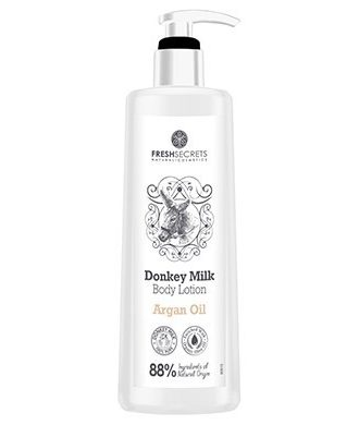 Body lotion with donkey milk, enriched with argan oil, aloe vera, panthenol, glycerine, olive oil.