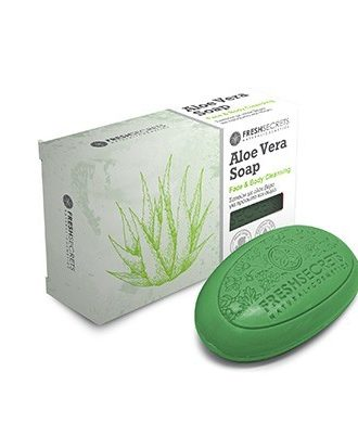 Cleansing soap for hands and body with aloe vera and olive oil.