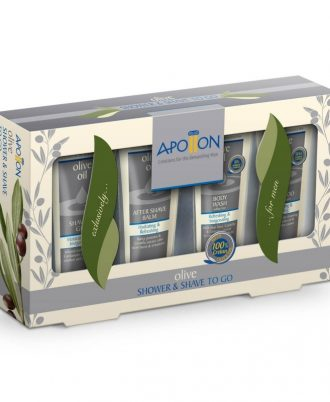 Apollon Olive Shower & Shave Kit is the ideal companion for effective personal care.
