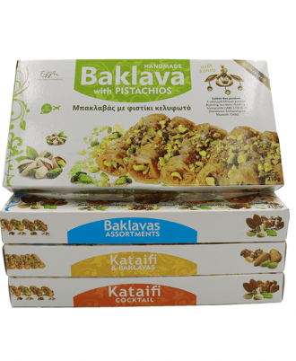 Baklavas is a layered pastry dessert made of filo pastry, filled with chopped nuts, and sweetened with syrup or honey.