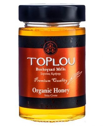 Organic Cretan Honey Toplou is produced from thyme, aromatic herbs and pine trees that grow on the region of Toplou Monastery in Siteia