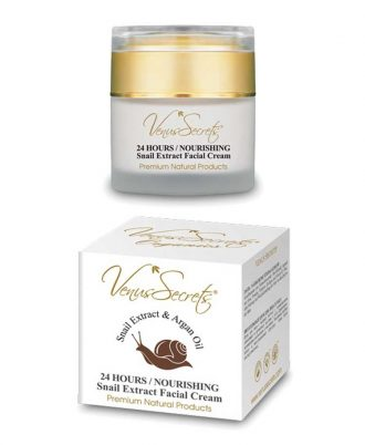 Face cream with snail extract, organic olive oil, argan and aloe, proteins, vitamins, collagen and elastin for hydration, deep nourishment and restoration of skin from the signs of acne.