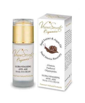 Anti-Age snail extract serum with argan oil, aloe and olive for youthful and glowing skin, suitable for face and neck.