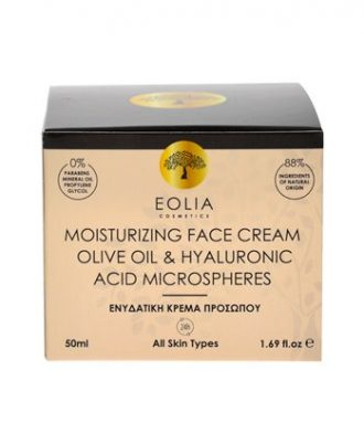 Moisturizing face cream with hyaluronic acid microspheres, olive oil, grape and argan oil, black tea extract and natural polysaccharides.