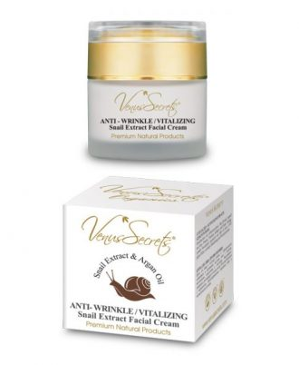 Face cream with snail extract, organic olive oil, argan and aloe, proteins, vitamins, collagen and elastin.